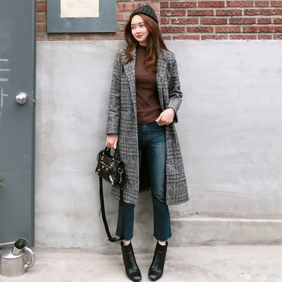 Double H Plaid Wool Coat