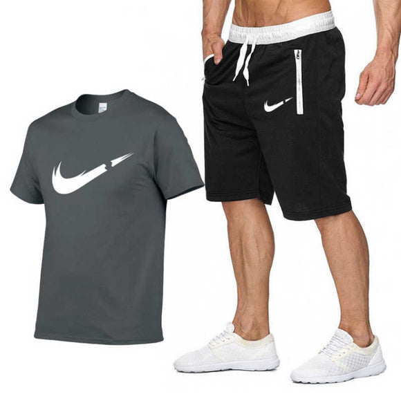 Double H  T Shirts+Shorts Two Pieces Gym Fit Set