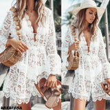 Double H Floral Lace Hollow Crochet Tunic