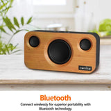 Double H Bamboo Wood Stereo Speaker