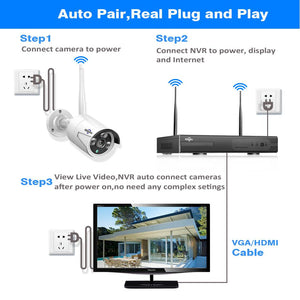 HH 8CH Wireless CCTV System 1080P 1TB 4pcs 2MP NVR IP IR-CUT outdoor CCTV Camera IP Security System Video Surveillance Kit