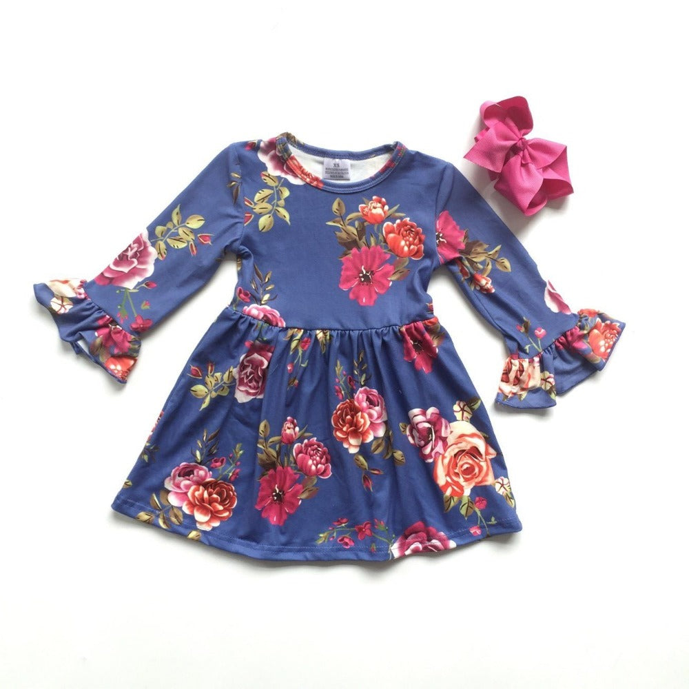 013) Blue Floral Flutter Sleeve Dress and Hair Bow