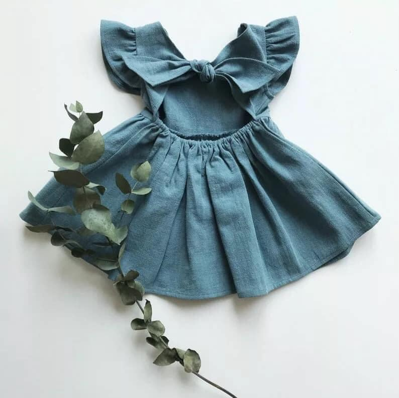 Open Linen Flutter Dress in Blue