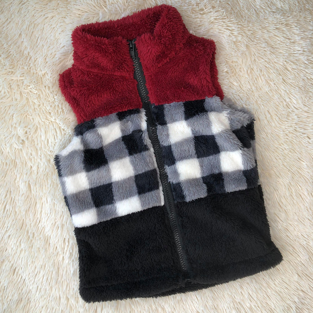 Color Block and Buffalo Check Vest