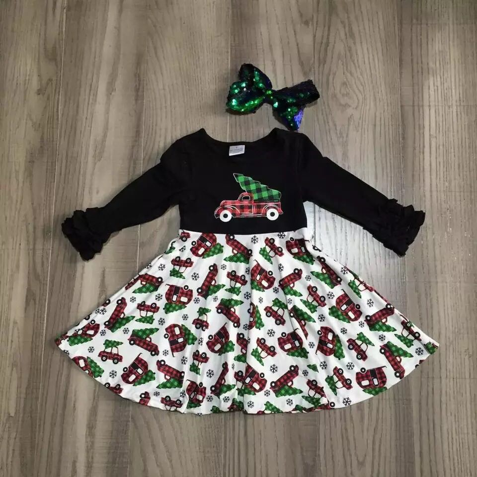 Little Red Truck Dress and Bow Set