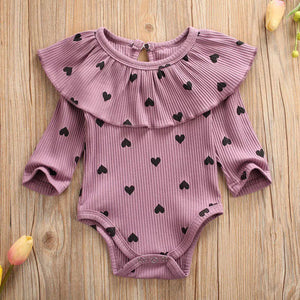 Dusty Lilac and Black Ribbed Heart Bodysuit