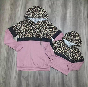 Dusty Rose Mommy and Me Leopard Hoodie