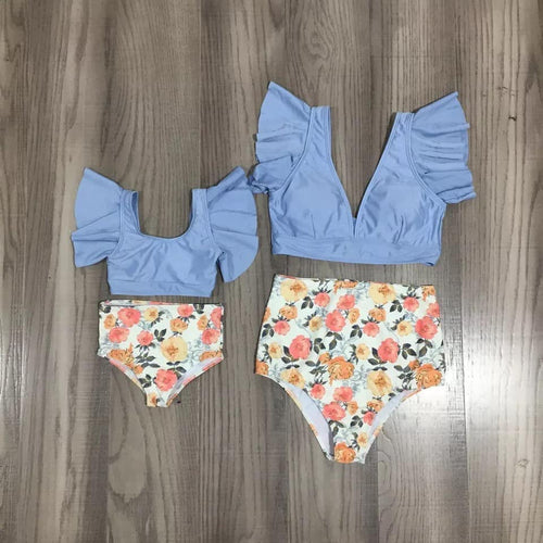 Flutter Blue and Floral Swimsuit