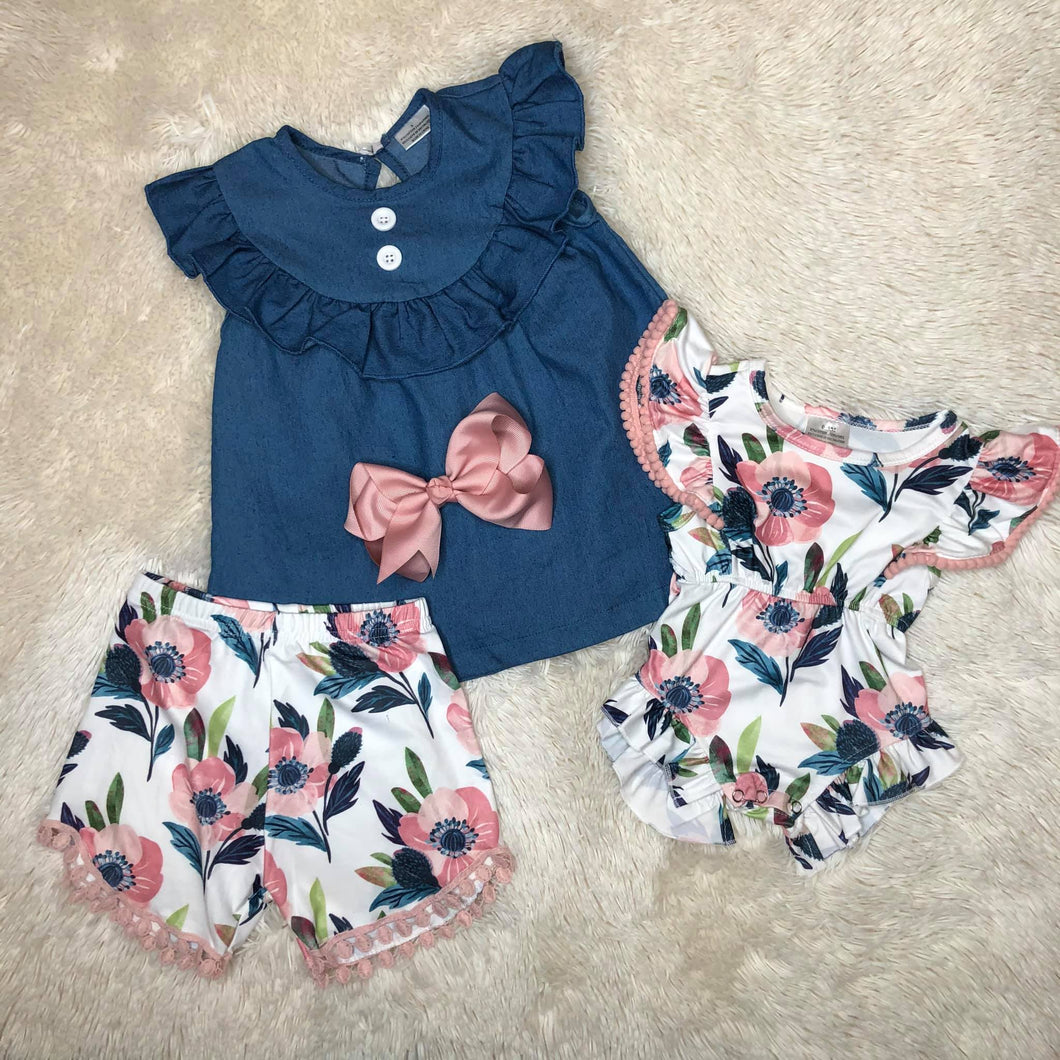 Floral, Chambray, and Pom Pom Coordinating Sets