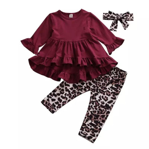 Burgundy Leopard 3 Piece Set