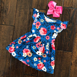 Blue Floral Flutter Spring Dress and Hair Bow Set