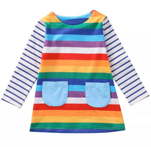 Rainbow Dress with Front Pockets