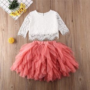 White Lace and Pink Tulle Skirt Set