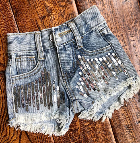 Sequined Distressed Shorts