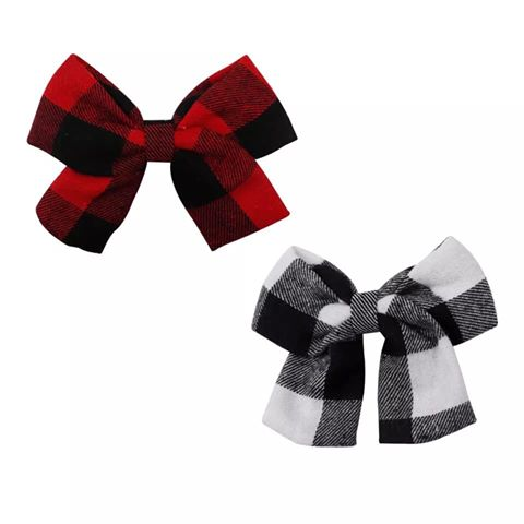Linen Buffalo Check Hair Bows - 4.5 inches
