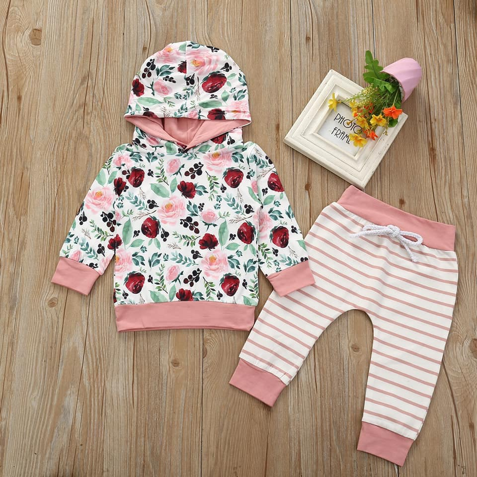 Garden of Roses and Stripes Hoodie Set