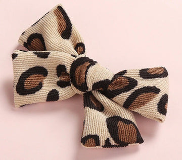 Leopard Corduroy Bow - 4.5 inches