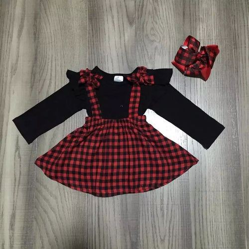 Buffalo Check Skirt with Ruffle Shoulder Top and Matching Hair Bow
