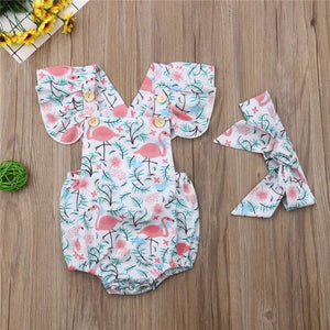 Let's Flamingle Ruffle Romper and Head Wrap Set