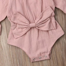 Load image into Gallery viewer, Dusty Rose Flutter Sleeve Bow Tie Romper