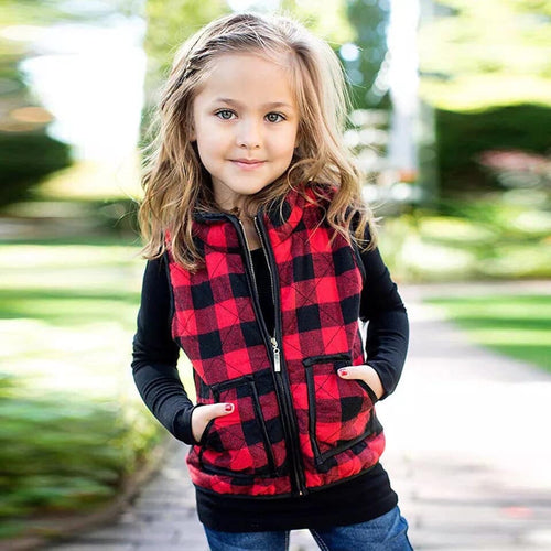 010) Red and Black Buffalo Plaid Vest