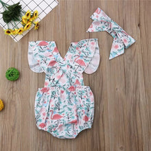 Load image into Gallery viewer, Let's Flamingle Ruffle Romper and Head Wrap Set