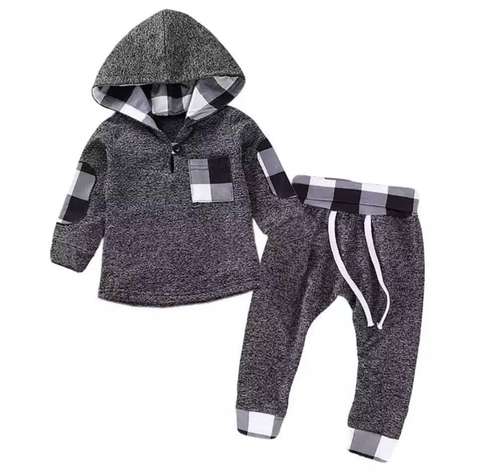 012) Black and White Buffalo Plaid Hoodie Set