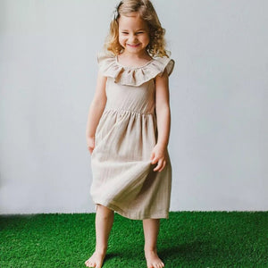 Tan Linen Collared Dress