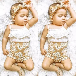 Gold, Floral, and Eyelet 3 Piece Set