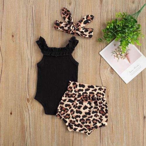 Black Ribbed Bodysuit and Leopard Bloomies 3 Piece Set
