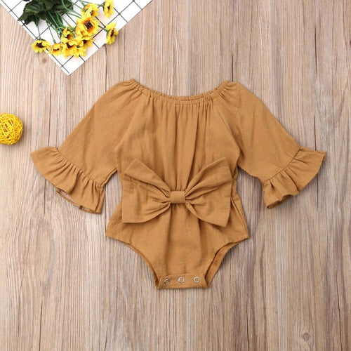 Gold Flutter Sleeve and Bow Tie Romper