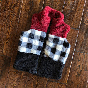 Wine and Plaid Sherpa Vest