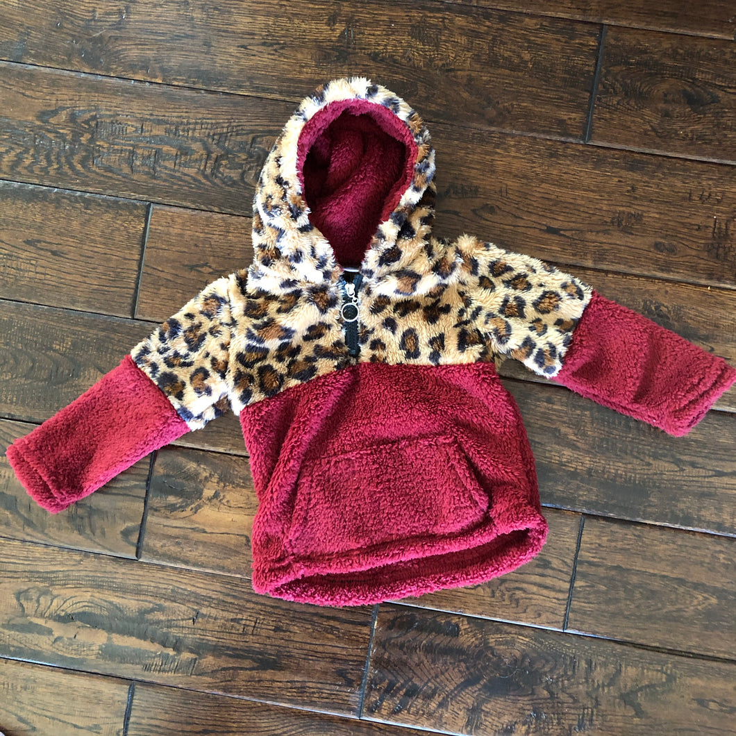Wine and Leopard Sherpa Hoodie