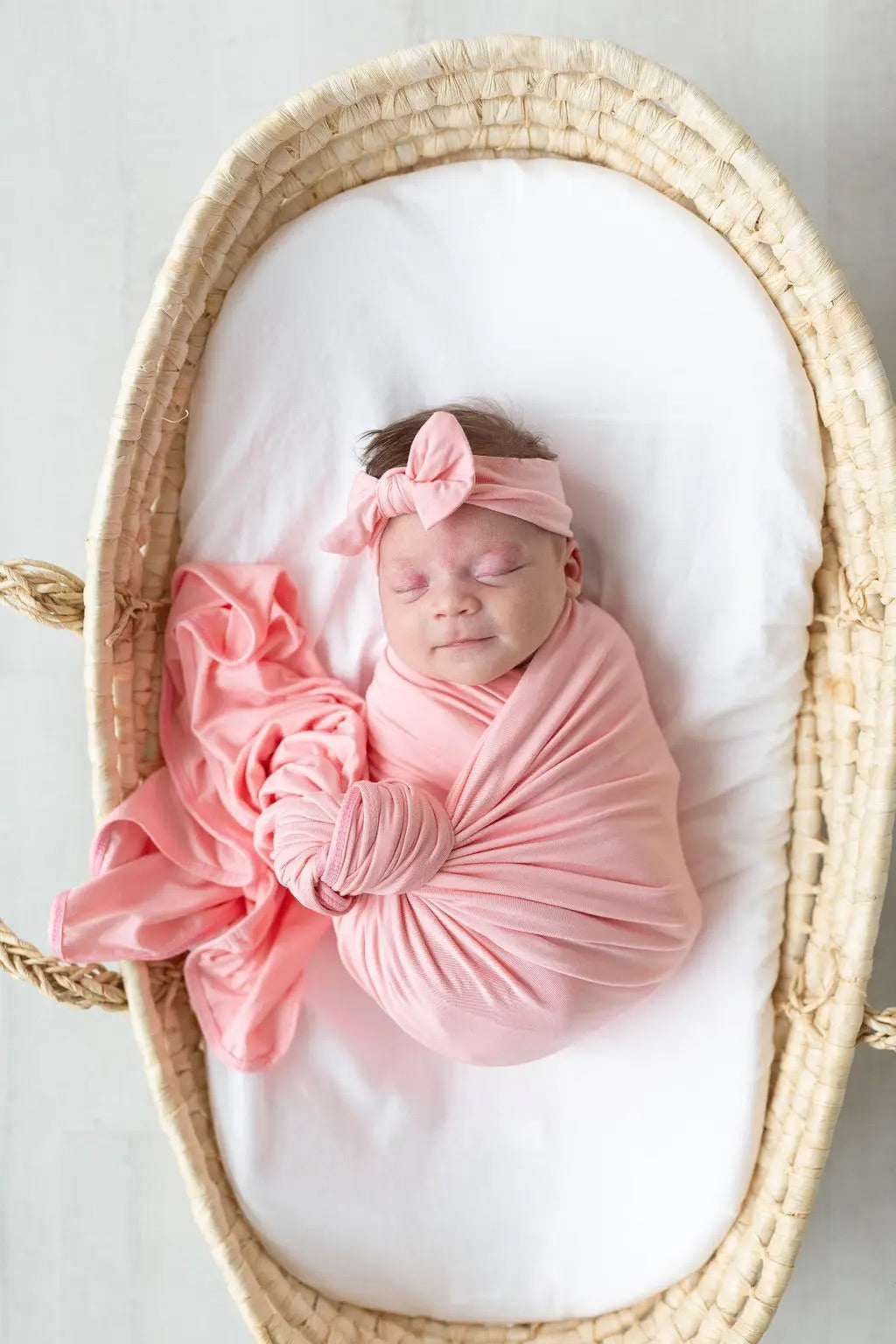 Pink Swaddle Blanket, Hat & Headband Set