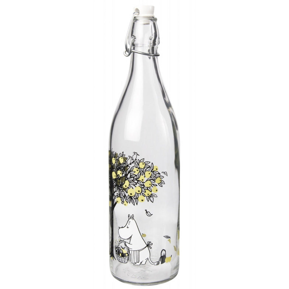 moomin glass bottle apples yellow 1 litre muurla