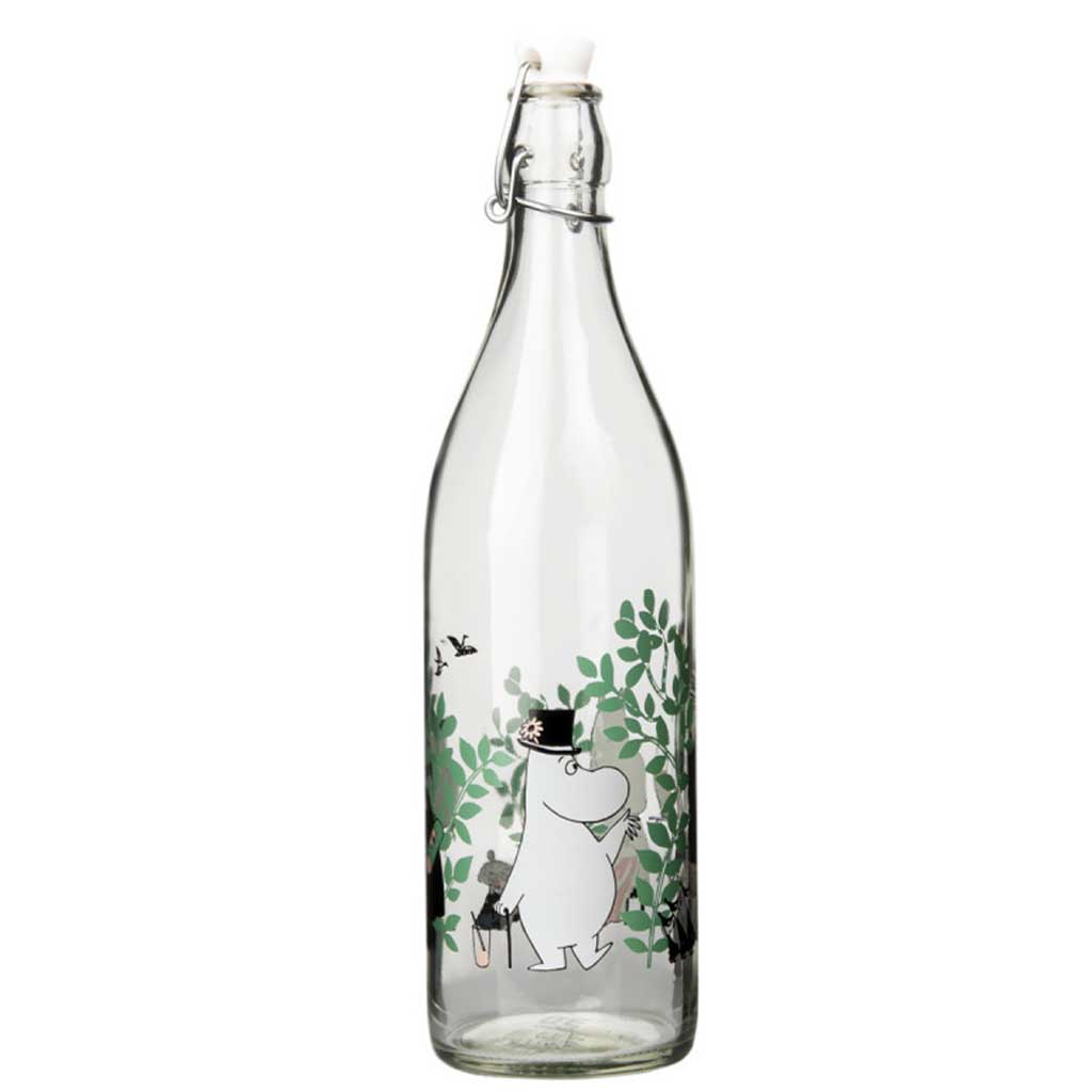 Moomin Glass Bottle Day in the Garden 1L by Muurla