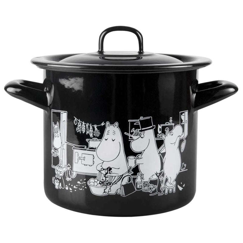 Moomin in the Kitchen Black Enamel Casserole Cooking Pot 3,5L