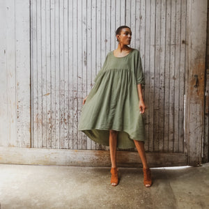 Oversized, draped dress. Gathered dress. Minimalist fashion. Unisex.