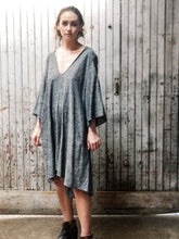 Load image into Gallery viewer, Hooded linen dress. Knee length dress. Minimalist dress. V-neck dress. Unisex.
