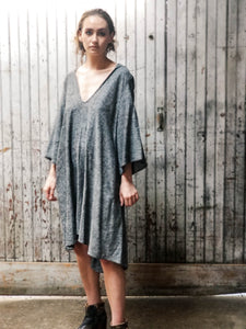 Hooded linen dress. Knee length dress. Minimalist dress. V-neck dress. Unisex.