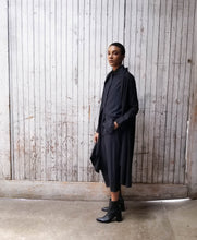 Load image into Gallery viewer, Oversized tunic with peter pant collar and button up front. High low tunic. Minimalism.
