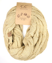 Load image into Gallery viewer, Metallic Cable Knit CC Infinity Scarf