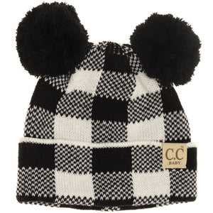 BABY Buffalo Plaid Pom Pom Beanie
