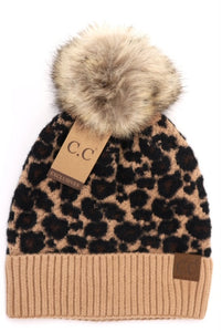 Animal Print Fur Pom CC Beanie