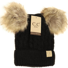 Load image into Gallery viewer, KIDS Cable Knit Double Fur Pom Beanie