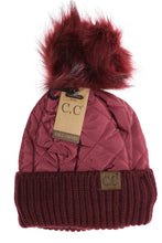 Load image into Gallery viewer, Fleece Lined Quilted Puffer CC Beanie