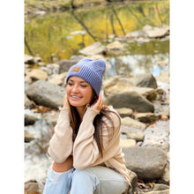 Load image into Gallery viewer, LARGE PATCH HEATHERED POM BEANIE