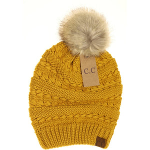 Whipstitch Knit Faux Fur Pom Beanie