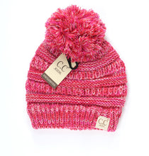 Load image into Gallery viewer, Kids Four-Tone Pom Beanie