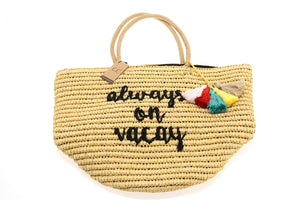 Straw Embroidered Beach Bag